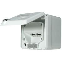 Datendose AP, 2 x RJ 45, IP43 Cat.6 geschirmt, RAL 7035
